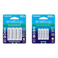 Panasonic BK-3MCCA8BA eneloop AA 2100 Cycle Ni-MH Pre-Charged Rechargeable Batteries, 8 Pack & BK-4MCCA4BA eneloop AAA 2100 Cycle Ni-MH Pre-Charged Rechargeable Batteries, 4 Pack