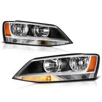VIPMOTOZ Chrome Bezel OE-Style Headlight Headlamp Assembly For 2011-2018 Volkswagen VW MK6 Jetta Sedan Halogen Model, Driver & Passenger Side