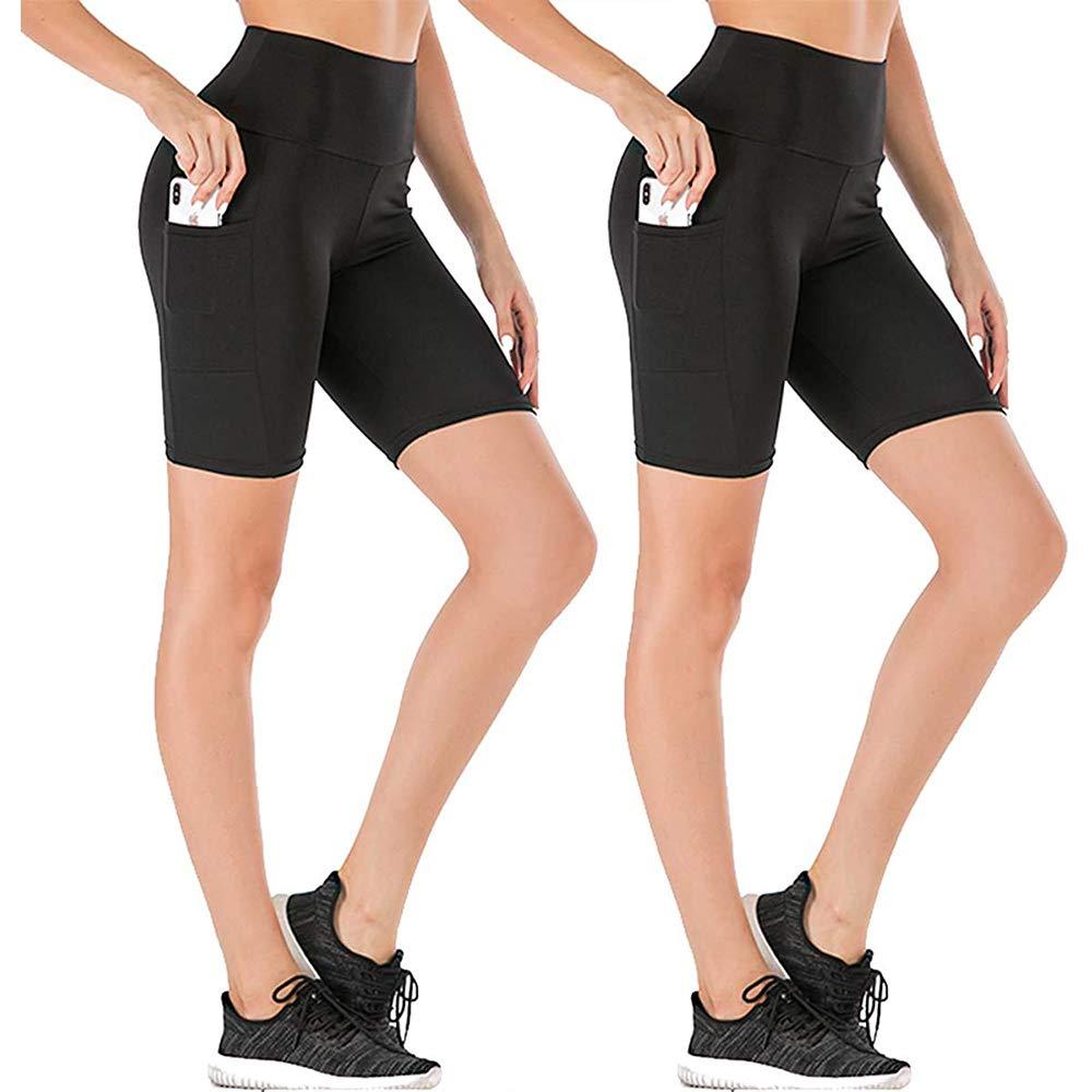 yeuG High Waist Out Pocket Yoga Short Tummy Control Workout Running Athletic Non See-Through Yoga Shorts