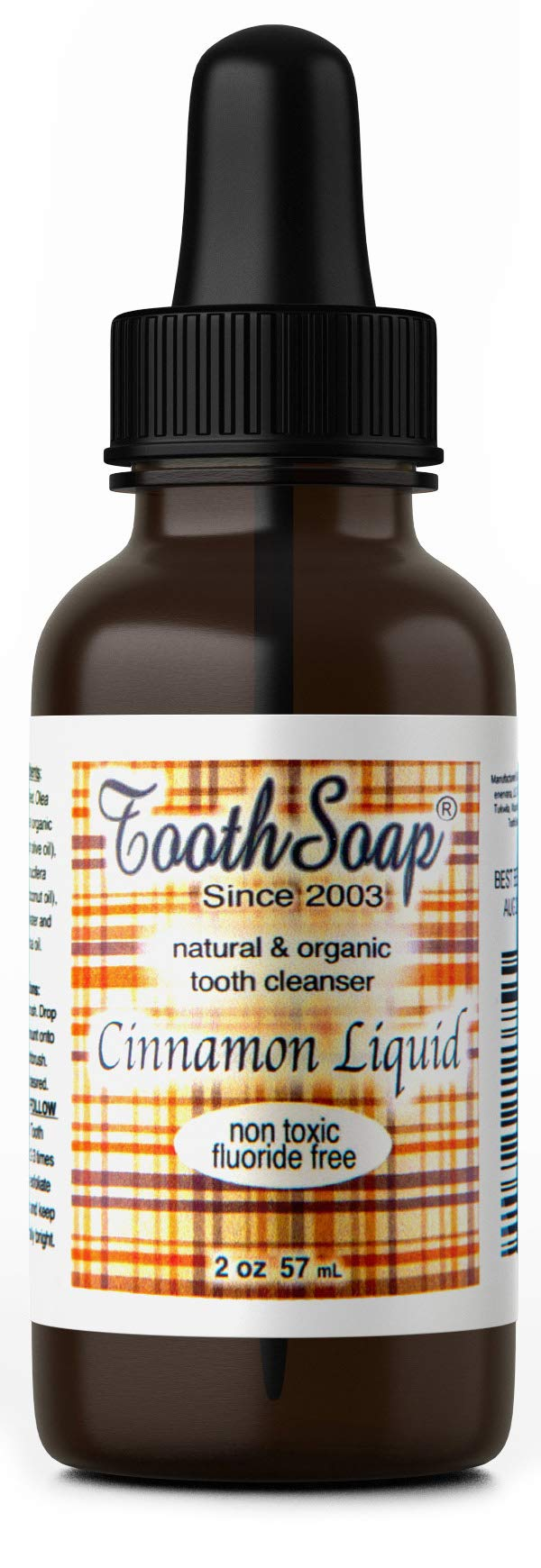 Tooth Soap – Cinnamon Liquid – 2 oz – All Natural, Fluoride-Free Tooth & Gum Cleaner – Enhanced with Organic Coconut & Extra Virgin Olive Oil with Essential Oils