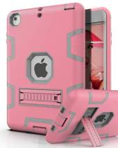 PBRO iPad Mini 5 2019 Case,iPad Mini 4 2015 Case,Three Layer [Kickstand ] Shockproof Protection High Impact Protective Cover for iPad Mini 5th Generation,Rose Gold