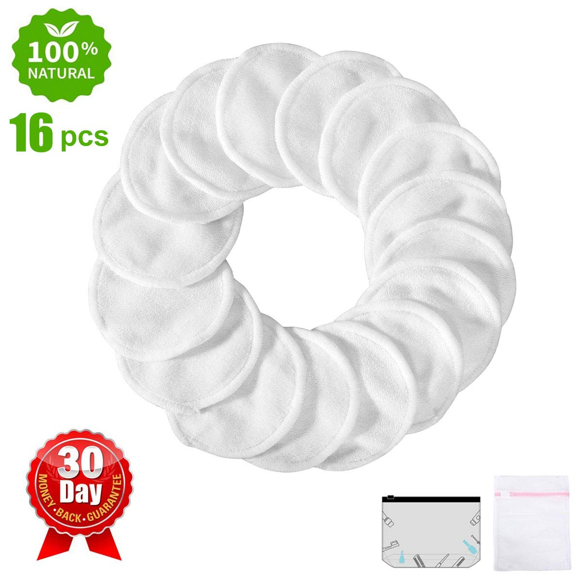 Reusable Makeup Remover Pads 16 Packs Organic Bamboo Cotton Rounds Facial Toner Pads,Washable Soft Cleansing Towel Wipes with Laundry Bag