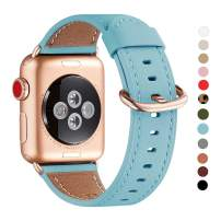 WFEAGL Compatible iWatch Band 42mm 44mm,Top Grain Leather Band with RoseGold Adapter(The Same as Series 5/4/3 with Gold Aluminum Case in Color)for iWatch Series 5/4/3/2/1(TiffanyBlue+RoseGold Adapter)