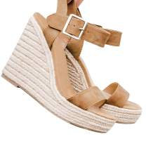 XMWEALTHY Women's Wedge Sandals Casual Sandals Shoes Summer Ankle Buckle Open Toe Wedges Heels
