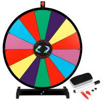 """Smartxchoices 24"""" Tabletop Color Prize Spinning Wheel 14 Slots Prize Spinner with Dry Eraser & Marker Pen Editable Carnival Fortune Spin to Win Casino Trade Show"""