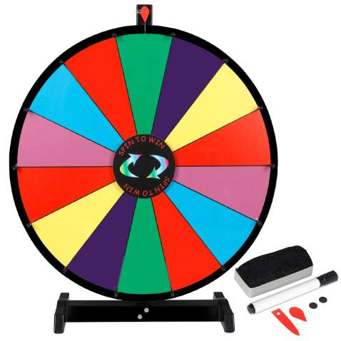 Top Stage 12 Tabletop Spinning Prize Wheel Spinner 10 Slots with Color Dry Erase Trade Show Fortune Spin Game Wheel