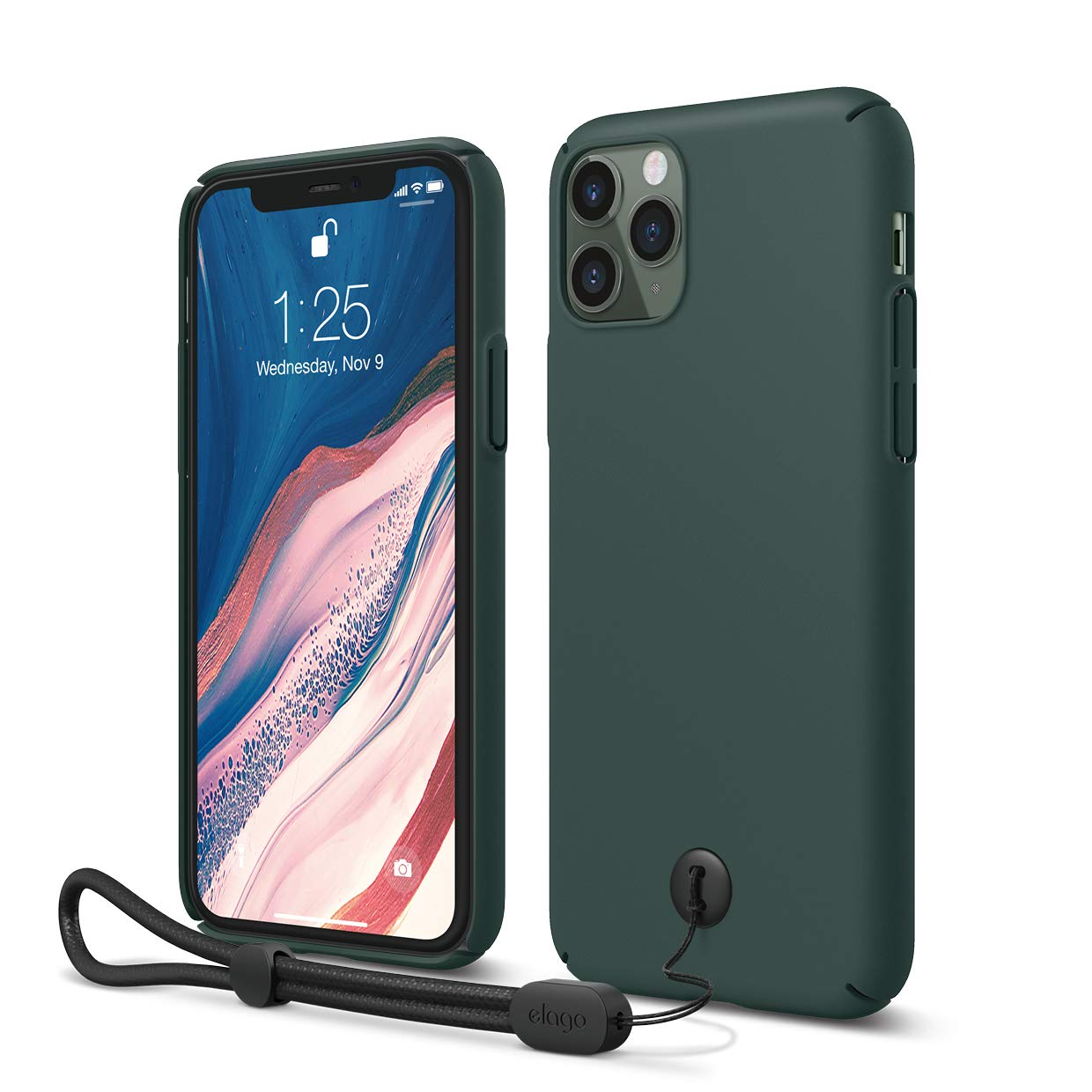 """elago iPhone 11 Pro Slim Fit Strap Case 5.8""""  Midnight Green  - Slim, Light, Simple Design, Matte Coating, Anti-Slip, Raised Lip, Attachable Strap and Button, Fit Tested [Made in Korea]"""