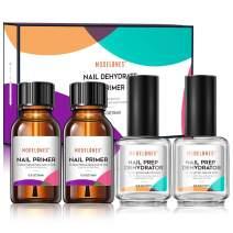 Modelones Professional 2Pcs Natural Nail Prep Dehydrate & 2Pcs Bond Primer, Nail Protein Bond, Superior Bonding Primer for Acylic Powder and Gel Nail Polish 0.5 oz/Bottle