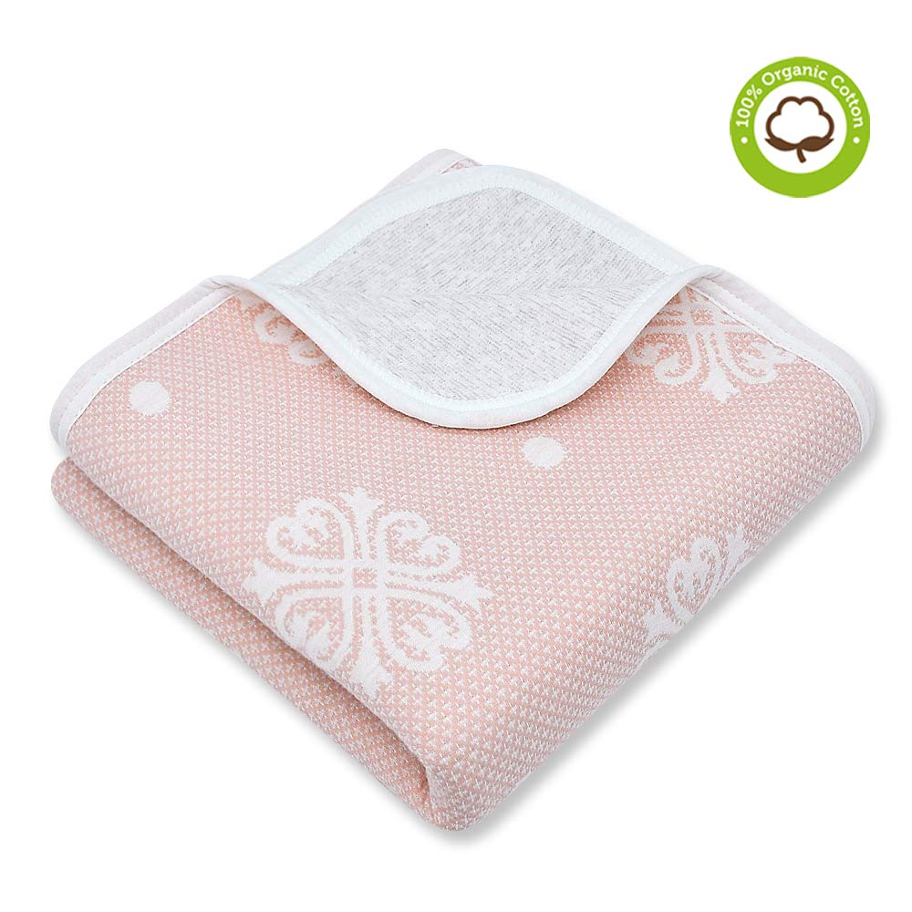 Organic Cotton Patterned Baby Crib Blanket for All Seasons - Warm, Breathable, Super Soft, Thick and Light Weight Quilted Toddler Blanket for Boys and Girls 39''x47'' Large - Pink Snow