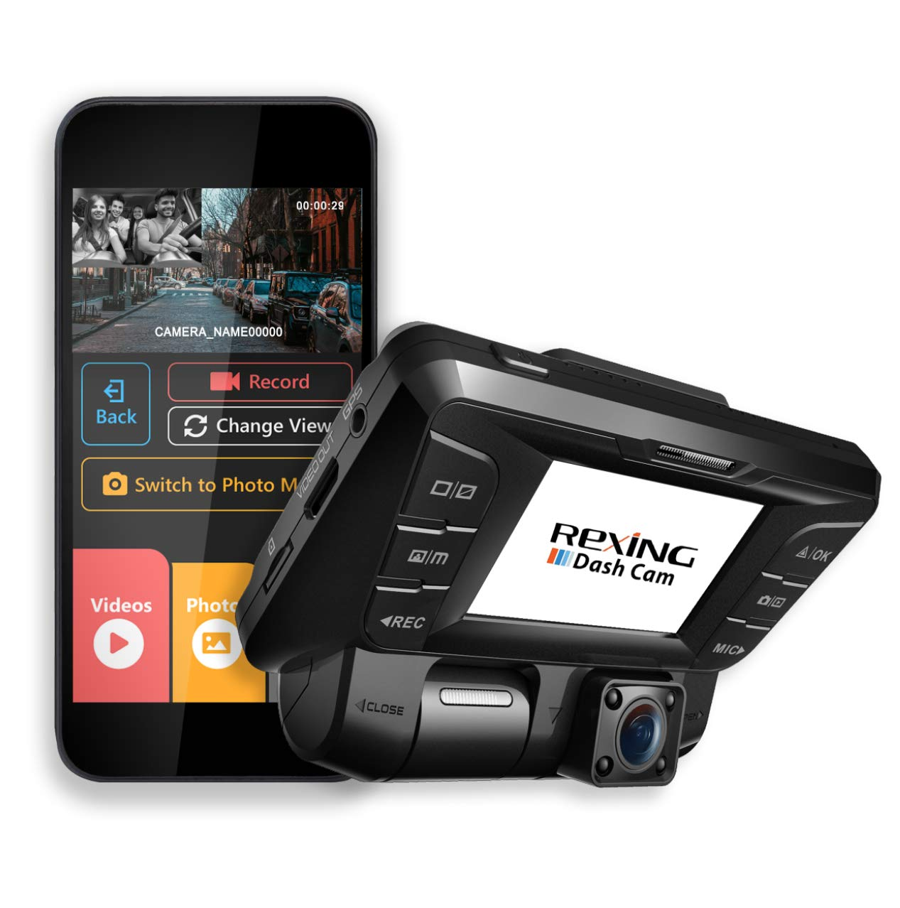 Rexing V2 Front + Back Dual Camera 1080p Full HD Wi-Fi Ultra Wide Angle LCD Screen Infrared Night Vision Car, Uber, Taxi Dash Cam