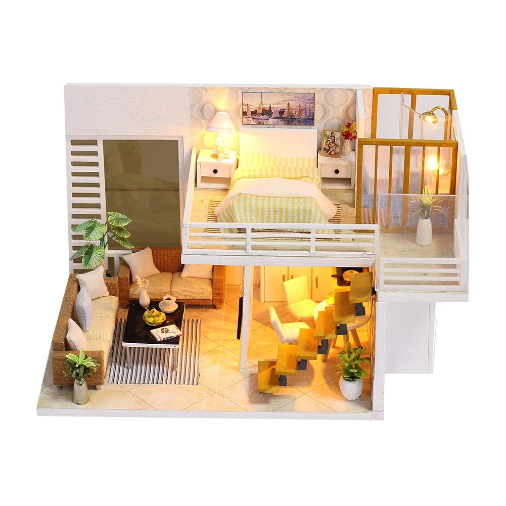 CONTINUELOVE Miniature Doll House with Furniture - Led Lights and Dust Cover - DIY Wooden Toy House Kit - Best Toys and Home Decoration (K031)