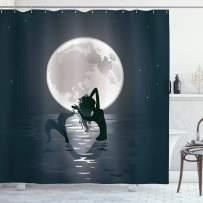 "Ambesonne Underwater Shower Curtain, Mermaid Singing at Night Silhouette Full Moon Rays Mythical Ornament Art Print, Cloth Fabric Bathroom Decor Set with Hooks, 75"" Long, Dark Grey"