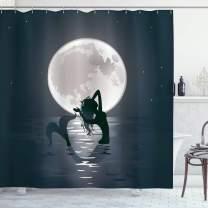 "Ambesonne Underwater Shower Curtain, Mermaid Singing at Night Silhouette Full Moon Rays Mythical Ornament Art Print, Cloth Fabric Bathroom Decor Set with Hooks, 84"" Long Extra, Dark Grey"