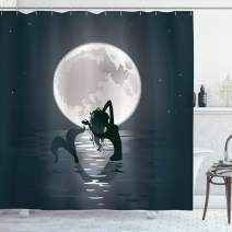 """Ambesonne Underwater Shower Curtain, Mermaid Singing at Night Silhouette Full Moon Rays Mythical Ornament Art Print, Cloth Fabric Bathroom Decor Set with Hooks, 84"""" Long Extra, Dark Grey"""