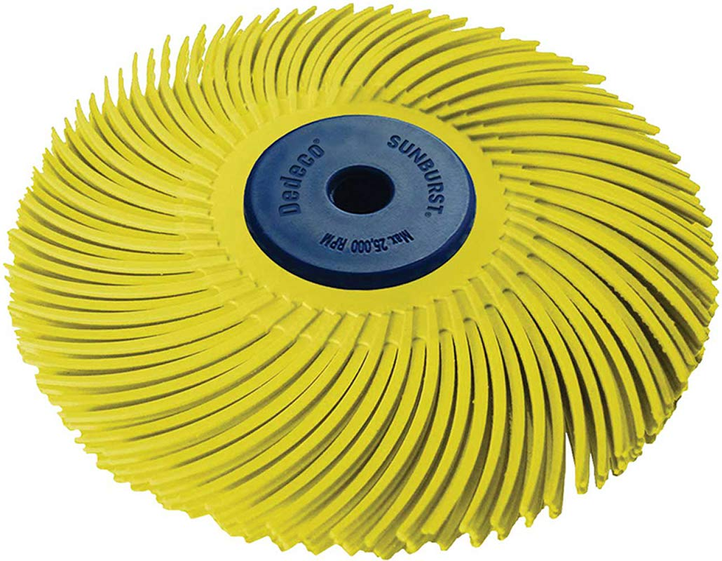 """Dedeco Sunburst - 3"""" TC 3-PLY Radial Bristle Discs - 1/4"""" Arbor - Industrial Thermoplastic Rotary Cleaning and Polishing Tool, Coarse 80 Grit (1 Pack)"""