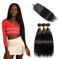VIPbeauty Brazilian Straight Human Hair Bundles with Closure 4x4 Free Part Lace Closure with Baby Hair Unprocessed Virgin Hair Weft for Black Women (16 18 20+14, Nature Color)