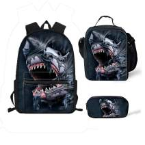 chaqlin Shark Backpack Set Children School Bag Lunch Bags Pencil Case for Boys Girls Travel Gift