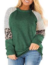 ROSRISS Womens Plus Size Long Sleeve Tops Leopard Print Striped Colorblock Tunic