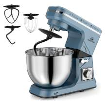 MURENKING Stand Mixer, 5-Qt 6-Speed Dough Mixer, 500W Tilt-Head Kitchen Mixer (Dough Hook and Beater with Teflon, Whisk) (Blue Gray)