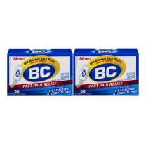 BC Powder | Fast Pain Relief | Aspirin (NSAID) & Caffeine | 50 Count | 2 Pack