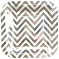 Just Artifacts Square Paper Party Plates 7.25-Inch (12pcs) - Metallic Silver Chevron - Decorative Tableware for Birthday Parties, Baby Showers, Grad Parties, Weddings, and Life Celebrations!