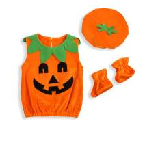 Infant Baby Girls Boys Halloween Costumes Pumpkin Bodysuit Sleeveless Ruffled Romper Outfits with Hat