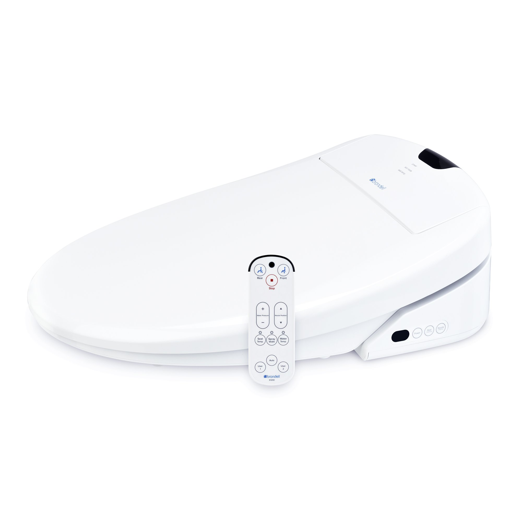 Brondell Swash S1200-RW Luxury Bidet Toilet Seat in Round White with Dual Stainless-Steel Nozzles | Endless Warm Water | Programmable User Settings | Self-Cleaning Nozzles | Nightlight