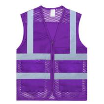 TOPTIE US Size Mesh Volunteer Vest Zipper Front Safety Vest with Reflective Strip and Pockets-Purple-US XS