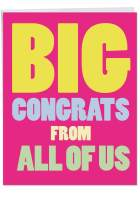 Jumbo 'Big Congrats From Us' Greeting Card w/Envelope - A Gigantic Shout Out Of Congratulations From All Of Us - Congrats Stationery 8.5 x 11 Inch J3893CGG