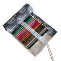 Colored Pencil Case Roll Up Canvas 36 Slot Pencil Roll Wrap-Pencil Pouches Holder Fit for Colored Pencils, NO Pencils