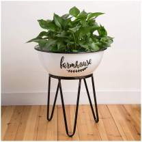 "Glitzhome 16"" H Indoor Decorative Farmhouse Metal Enameled Planter Stand Shelf"