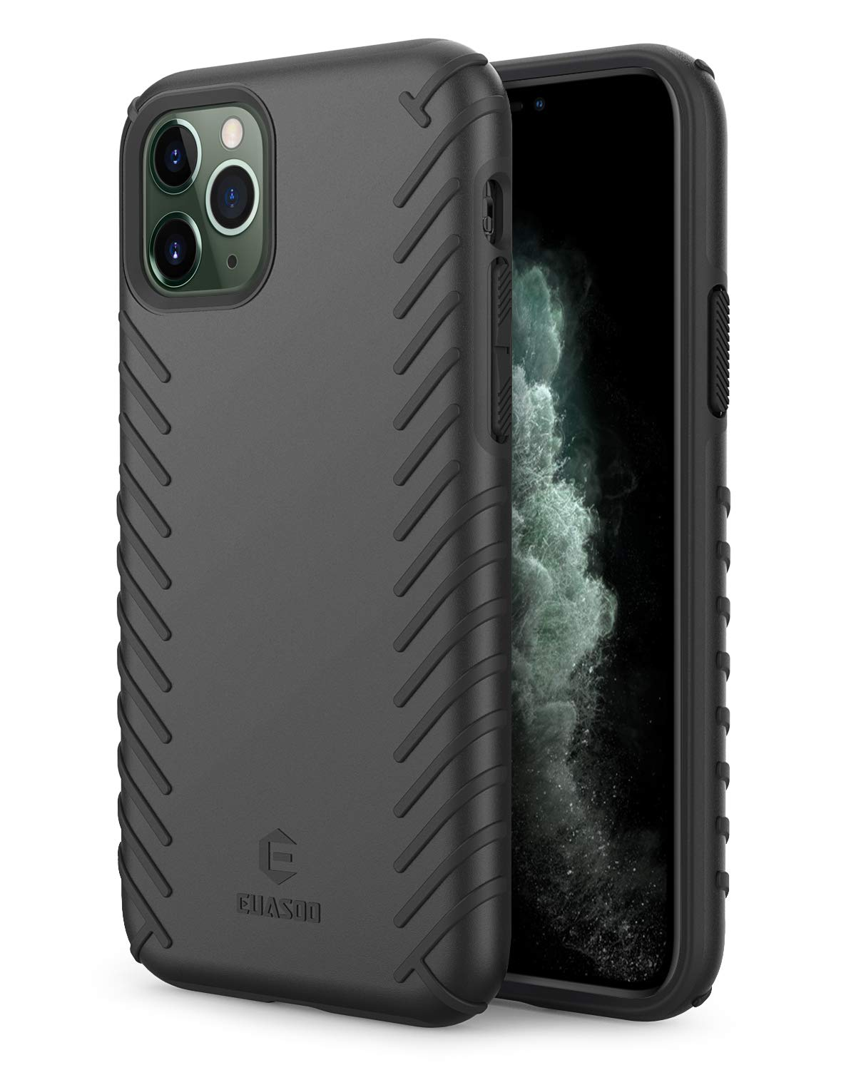 EUASOO iPhone 11 Pro Case, PC + Soft TPU Cover Double Protection, High Effective Heat Dissipation,Support Wireless Charging,Anti-Scratch Resistant Cover for iPhone 11 Pro,Black