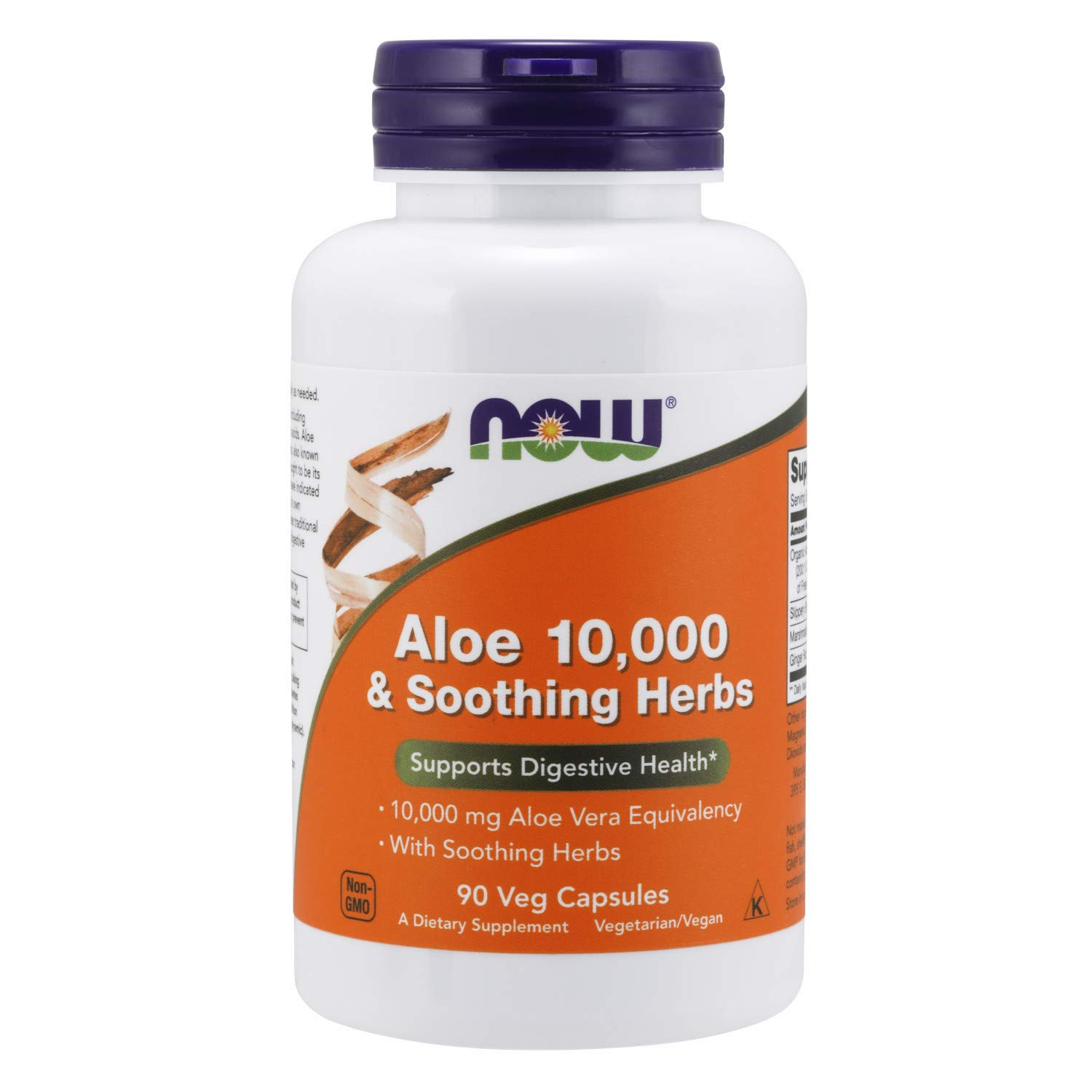 NOW Supplements, Aloe 10,000 & Soothing Herbs with 10,000 mg Aloe Vera Equivalency, 90 Veg Capsules