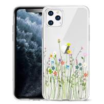 Unov Clear with Design for iPhone 11 Pro Case Slim Protective Soft TPU Bumper Embossed Floral Pattern Cover 5.8 Inch (Flower Bouquet)