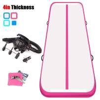 KIKILIVE 13ft Air TrackTumbling Mat,4 inch Inflatable Gymnastics Airtrack Mat, Air Floor Mat with Electric Air Pump for Training/Cheerleading