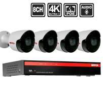 BTG 8CH 4K(8MP) 4 Audio Cameras Security PoE Camera System Built-in PoE with Outdoor 8MP Surveillance IP PoE 4 Bullet Cameras HD 3840(H)×2160(V) IR CCTV System H265 No Hard Drive