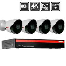 BTG 8CH 4K(8MP) 4 Audio Cameras Security PoE Camera System Built-in PoE with Outdoor 8MP Surveillance IP PoE 4 Bullet Cameras HD 3840(H)×2160(V) IR CCTV System H265 No Hard Drive