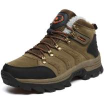 QLMXZY Hiking Boots for Men and Winter Warm Faux Fur Anti-Collision Shoes