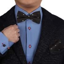 Epoint Men's Fashion Multicolored Patterned Silk Pre-tied Bowtie Cufflink Hanky Set