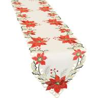 Grelucgo Large Christmas Holiday Embroidered Poinsettia Table Runners 15x132 inch