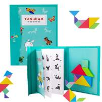 Tangrams for Kids Travel Game Puzzle Magnetic Book&Educational Toy Dissection with 7 Simple Colorful Shapes Games and Solution Gift