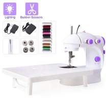 Beginner Sewing Machine Mini Portable Electric Sewing Machine with Extension Table Lamp and Thread Cutter, Bonus Shared 10 Thread Spools Purple