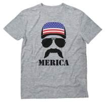 American Flag Cap Hat Patriotic Tee 4th of July Merica USA Men's T-Shirt