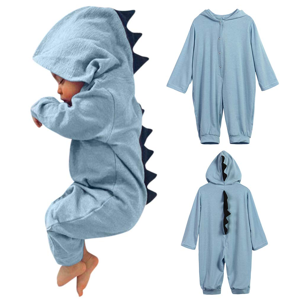 Lanhui Sunny Baby Boy Girl Dinosaur Onesies Hooded Romper Jumpsuit Long Sleeve Outfits Clothes