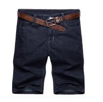 Soojun Mens Tall Classic 5 Pocket Comfort Waist Black Denim Shorts