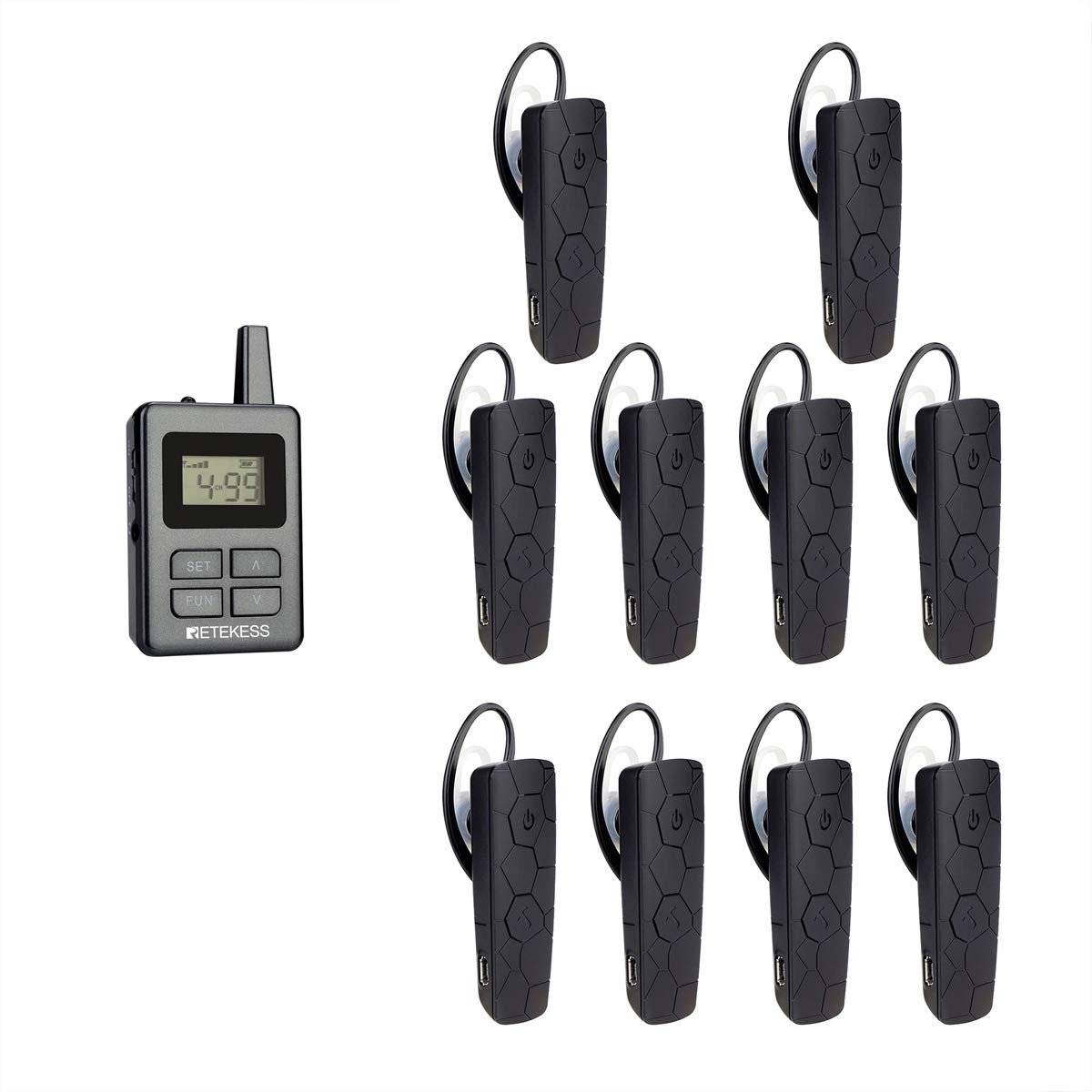 Retekess TT101 Wireless Tour Guide System Church Translation 99 Channel Long Standby Monitoring Mute Switch for Church 1 Transmitter 5 Receivers