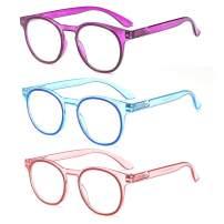 SUERTREE Anti Blue Reading Glass 3 Pack Spring Hinge Yellow Tint Computer Glasses Transparent Frame Men Women Comfort Anti Rays Eyewear JH210
