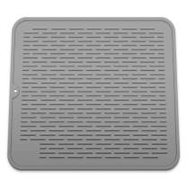 Silicone Dish Drying Mat, Eco Friendly Heat Resistant Kitchen Dish Draining Mat (X-Large 16'' x 18'', Grey)