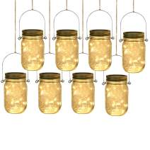 Solar Mason Jar Lights, IC ICLOVER Upgraded 20 LEDs Hanging String Lids Lights with Jars, 8 Pack Waterproof Warm White Fairy Lighting, Outdoor String Lanterns with Regular Jars for Patio Garden Deck