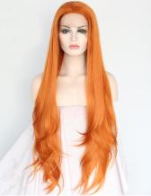 SeraphicWig Heat Resistant Synthetic Lace Front Wigs Long Straight Orange Lace Wig For Women Glueless Half Hand Tied 24 inches